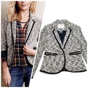 Anthro Cartonnier Lakehouse Tweed Blazer Black White Womens Size 2 Single Button